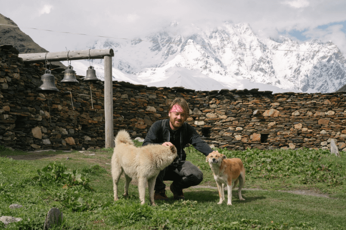 man and his dogs